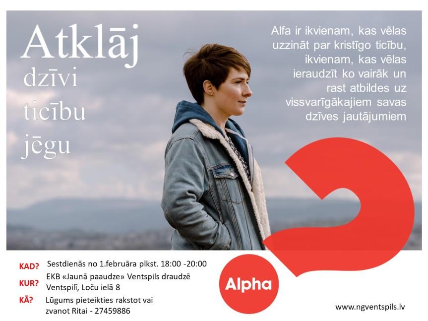 """Alfa kurss Ventspils draudzē """"Jaunā paaudze"""" no1.februāra"""
